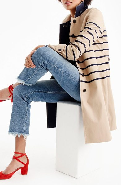 J.CREW stripe trench coat in khaki/ navy - J.Crew updates the classic trench coat with navy stripes...