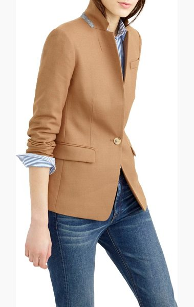 J.Crew regent stand collar blazer in warm camel - Feminine and fitted (but not shrunken), J.Crew's newest...