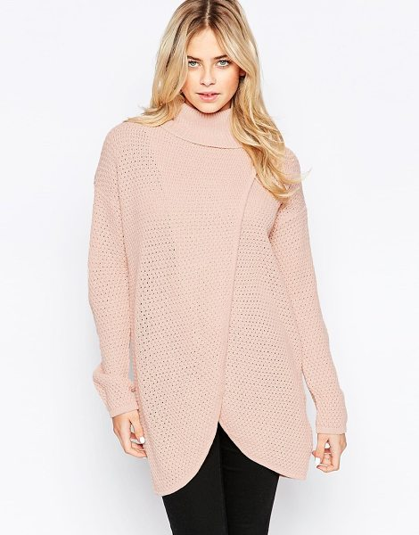 JDY High neck wrap front sweater in rose smoke - Sweater by JDY Lightweight, open-gauge knit Roll...