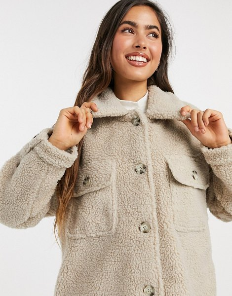 JDY jacket in oversized teddy in cream in cream
