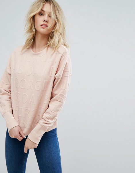 "JDY Embossed Slogan Sweatshirt in pink - """"Sweatshirt by JDY, Ribbed sweat fabric, Crew neck,..."