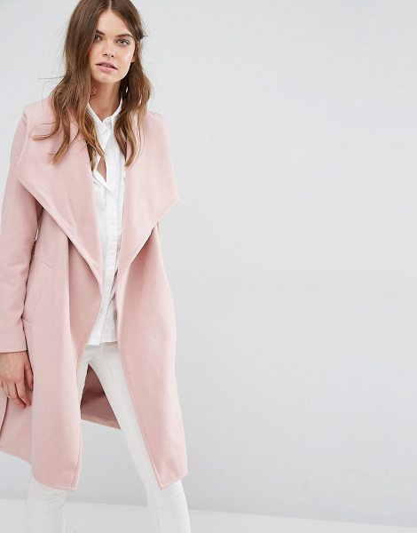 JDY J.D.Y Wrap Coat in pink - Coat by JDY, Textured woven fabric, Fully lined,...