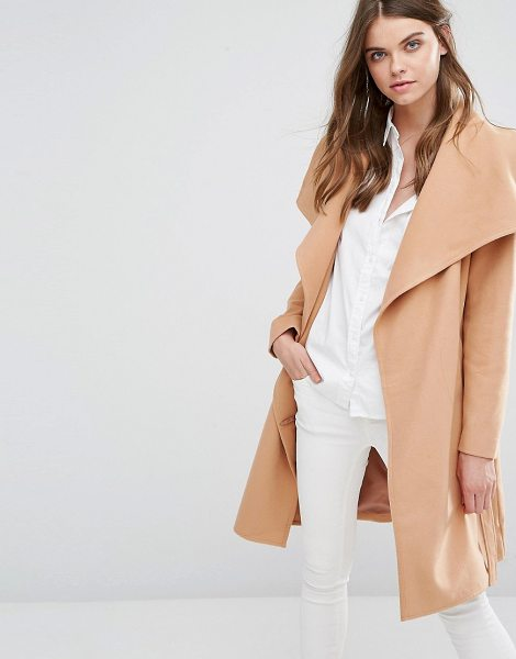 JDY j.d.y wrap coat in camel - Coat by JDY, Textured woven fabric, Fully lined,...