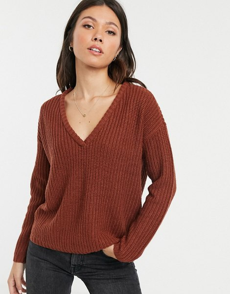 JDY knitted v-neck sweater-brown in brown