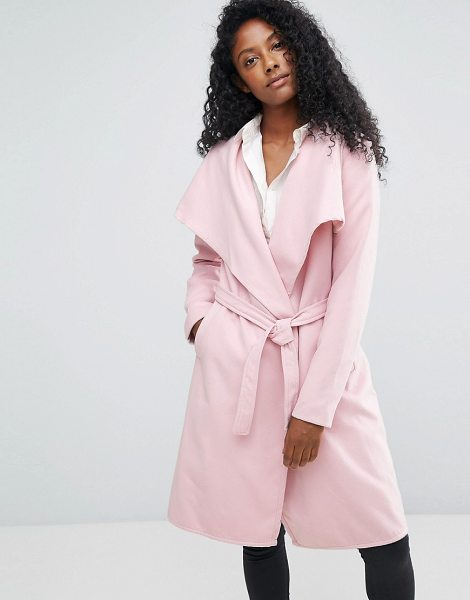 "JDY long trench coat in pink - """"Coat by JDY, Lightweight woven fabric, Waterfall..."