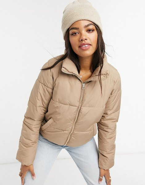 JDY quilted padded jacket in tan in tan