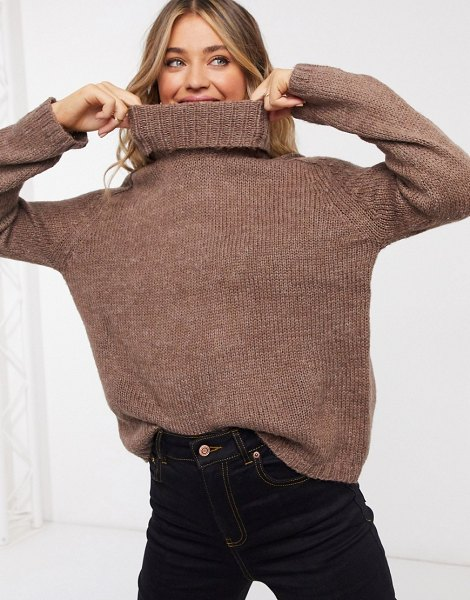 JDY roll neck sweater with chunky knit brown in brown