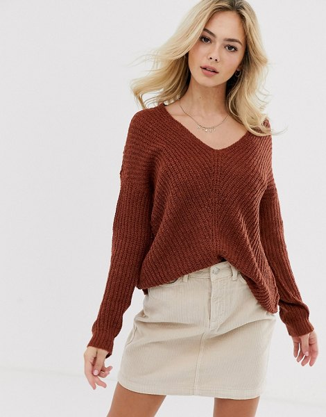 JDY v-neck rib knitted sweater-brown in brown