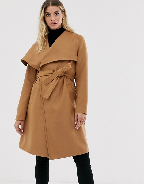 JDY wrap coat-brown in brown