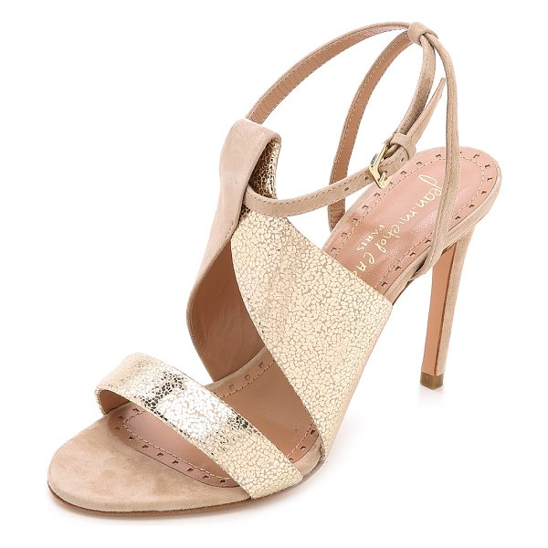 Jean-Michel Cazabat Olga strappy sandals in castagno/beige - Jean Michel Cazabat pumps crafted in a mix of cracked,...