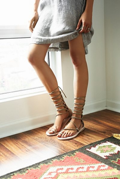 Jeffrey Campbell + Free People Aleyla mid gladiator in taupe suede - Suede gladiator sandals with braided lace-up styling and...