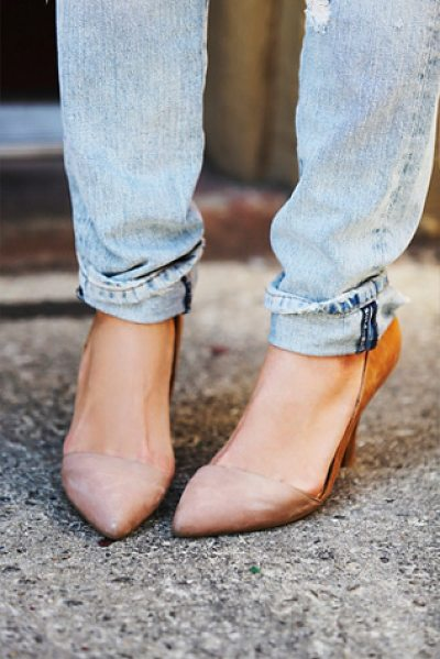 JEFFREY CAMPBELL + FREE PEOPLE Meridian heel in blush / tan - Perfect slip-on suede heels featuring asymmetrical...
