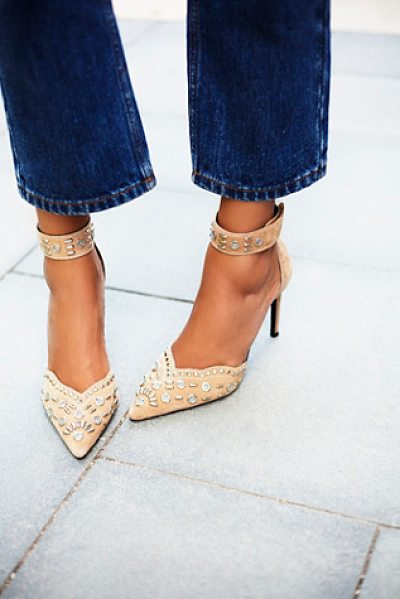 Jeffrey Campbell + Free People Party favor studded heel in camel suede - Suede stilettos with statement stud embellishment....