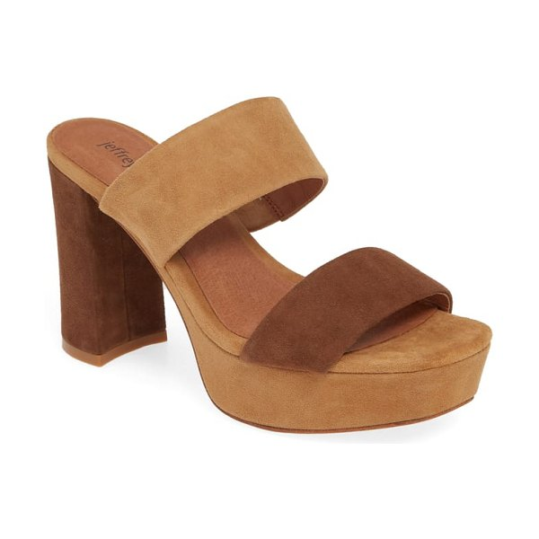 Jeffrey Campbell adriana-2 platform slide sandal in brown - Two suede straps top a slide sandal lifted on a blunted...