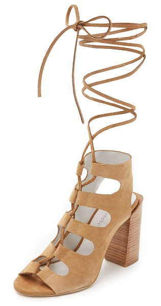 Jeffrey Campbell Allow sandals in camel - Slim ties lace the front of these soft suede Jeffrey...