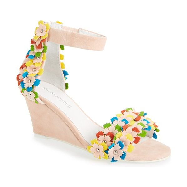 Jeffrey Campbell aster-flr wedge sandal in pink suede combo - Bright, stud-embellished flowers add three-dimensional...