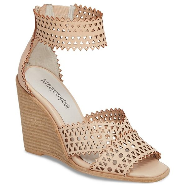 Jeffrey Campbell besante perforated wedge sandal in natural leather - Pinked edging and multishaped perforations enliven the...