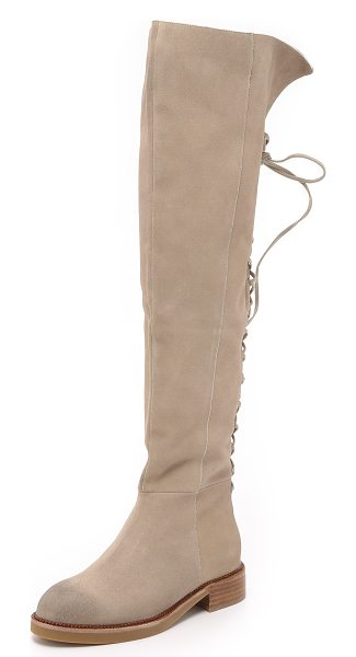 JEFFREY CAMPBELL Bireli over the knee boots in beige - Lace up detailing accents the back of these suede...