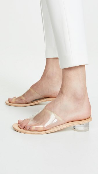 Jeffrey Campbell bronwen vinyl slides in clear/natural - Fabric: Vinyl Crossover strap Slip-on style Flat profile...