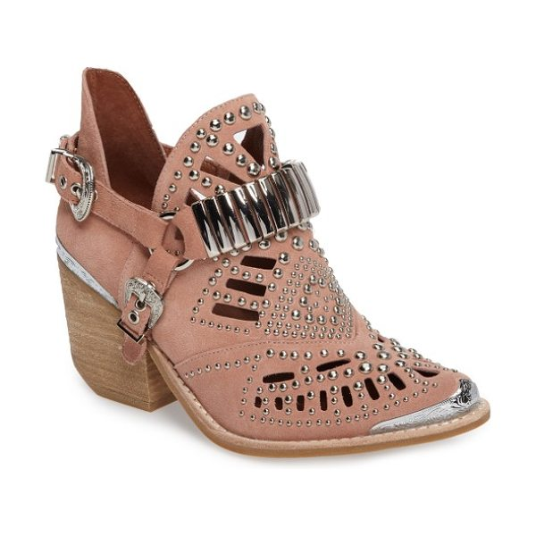 Jeffrey Campbell 'calhoun' cutout bootie in blush suede silver - This city-slick cowgirl bootie features flirty cutouts...