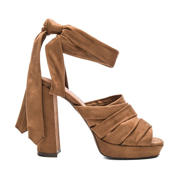 Jeffrey Campbell Chablis heels in brown - Faux suede upper with man made sole. Wrap ankle with tie...