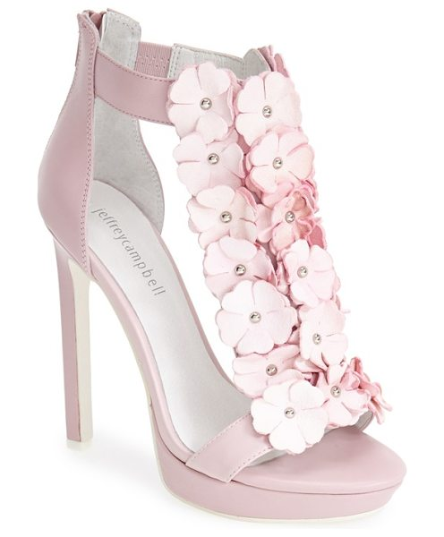 Jeffrey Campbell cilla-rose platform sandal in pink combo - Dramatic floral embellishments add irresistible summery...