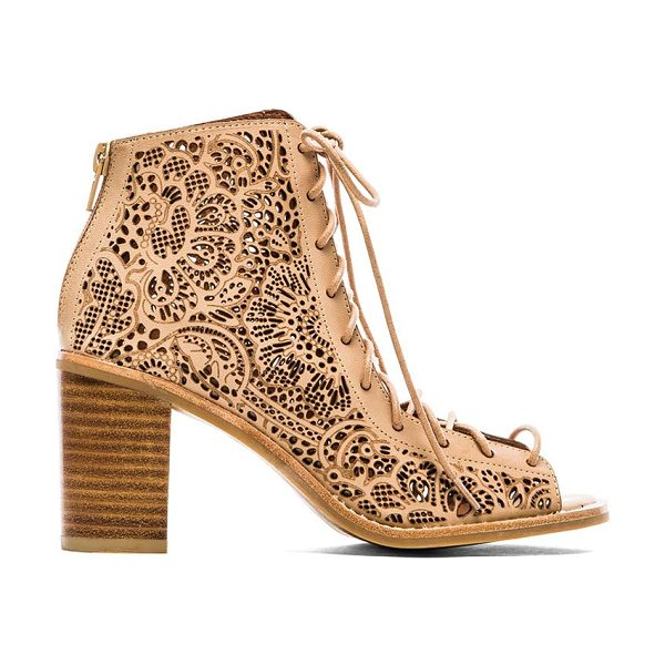 Jeffrey Campbell Cors lace up sandal in beige - Leather upper with man made sole. Heel measures approx...