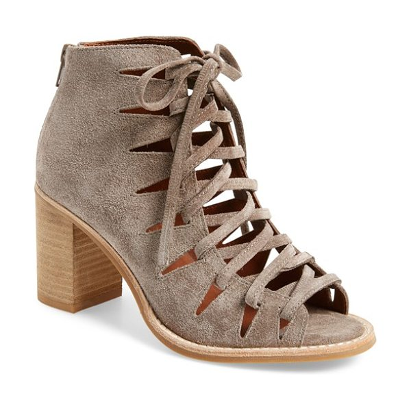 Jeffrey Campbell 'corwin' open toe bootie in taupe suede - Crisscrossed laces bridge the open toe of a stylish...
