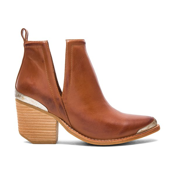 Jeffrey Campbell Cromwell Booties in cognac - Leather upper with rubber sole. Pull on styling. Side...