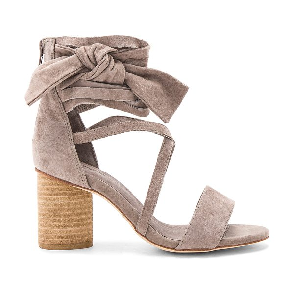 "Jeffrey Campbell Destini Sandals in taupe - ""Suede upper with man made sole. Back zip closure. Wrap..."