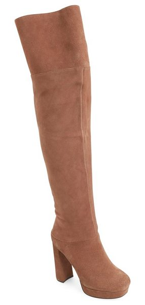 Jeffrey Campbell destino over the knee platform boot in taupe suede - Add a glamorous, self-confident element to your...