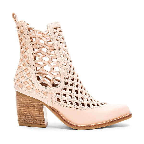 Jeffrey Campbell Diablo Booties in beige - Leather upper with rubber sole. Elasticized pull-on...