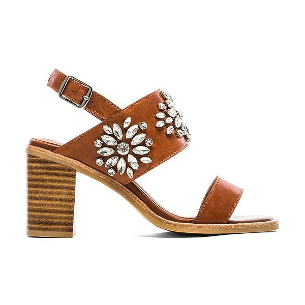 JEFFREY CAMPBELL Dola embellished heeled sandal in tan - Leather upper with man made sole. Heel measures approx...
