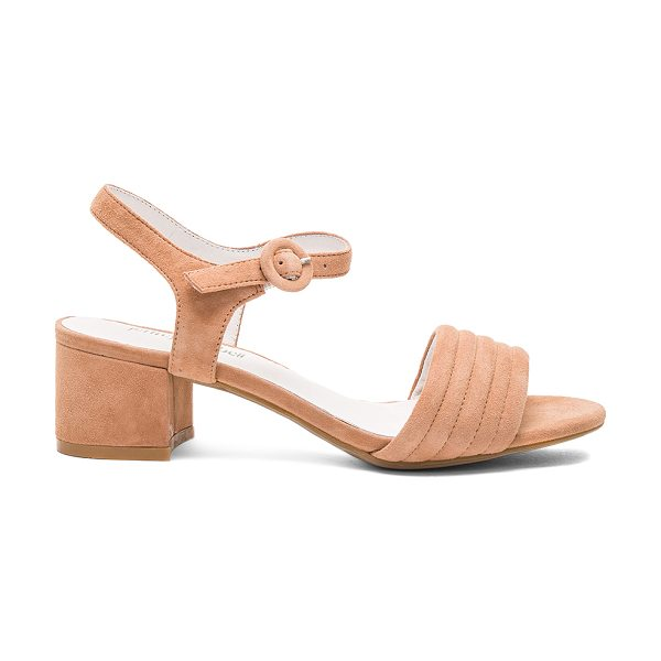 "Jeffrey Campbell Faye Heel in tan - ""Suede upper with man made sole. Ankle strap with buckle..."