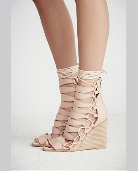 Jeffrey Campbell Fooled you lace up wedge in natural
