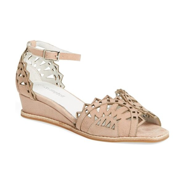 Jeffrey Campbell foray ankle strap wedge in nude suede - Pretty geometric perforations open up a chic d'Orsay...
