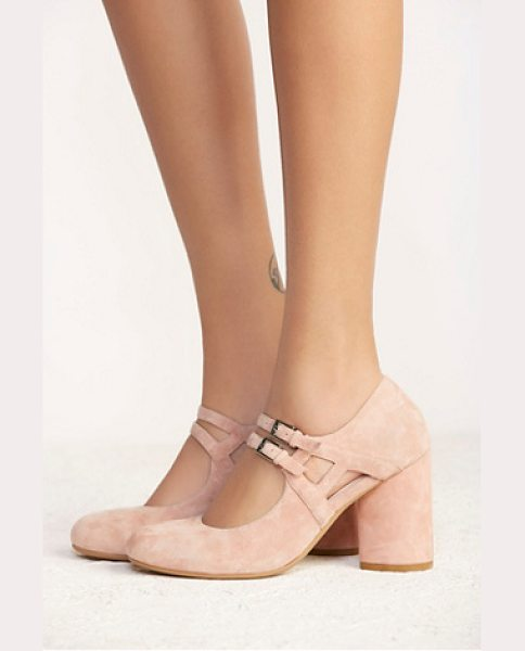 Jeffrey Campbell + Free People None in pink suede - Suede Mary Jane heels featuring double delicate straps a...