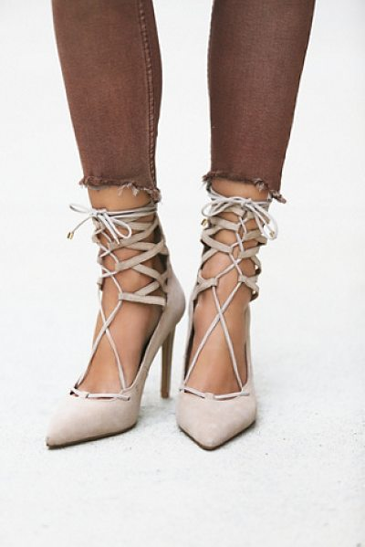 Jeffrey Campbell + Free People Hierro heel in taupe - Suede stilettos that lace up over the ankle and zip up...