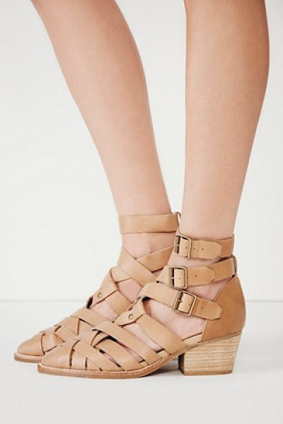 Jeffrey Campbell + Free People Hunts point ankle boot in natural - Strappy woven leather shoes with short stacked heels and...