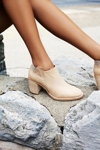 Jeffrey Campbell + Free People Upper peak ankle boot in beige wash - Washed soft leather ankle boots featuring a wooden...