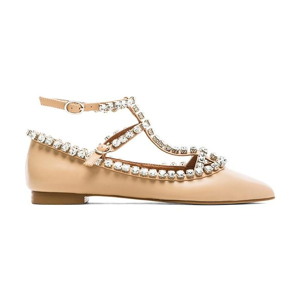 Jeffrey Campbell Gaby embellished flat in beige - Leather upper with man made sole. Rhinestone accent....
