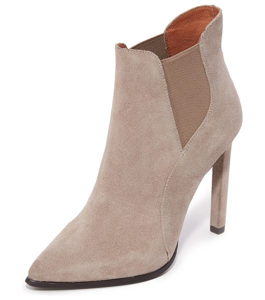 Jeffrey Campbell Jeffrey Campbell Valinor Booties in taupe - Sculpted suede panels compose these pointed toe Jeffrey...