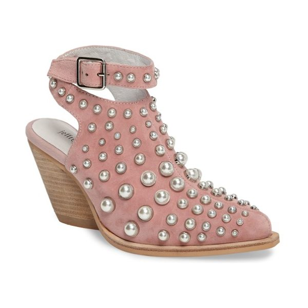 Jeffrey Campbell jeffrey larkin embellished bootie in blush suede - Imitation-pearl domed studs further the eye-catching...