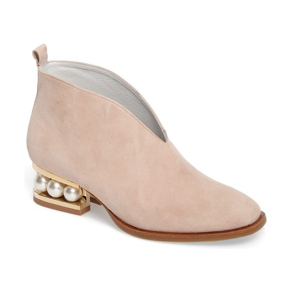 Jeffrey Campbell jermane v-cut bootie in pink suede-gold - A plunging V-cut topline and a softly squared toe bring...