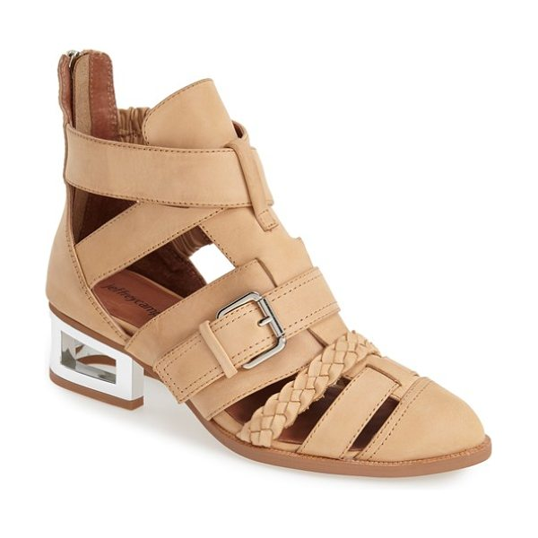 Jeffrey Campbell levelup strappy bootie in nude/ silver - An open, sculptural heel and sleek roller buckle add...