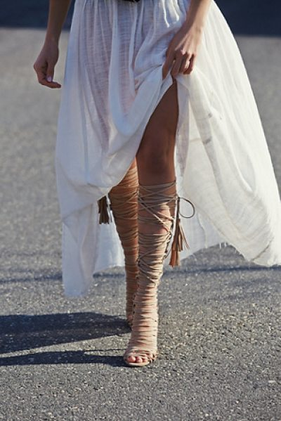 Jeffrey Campbell Levluv heel in beige suede - Knee high suede lace-up wrap around heeled sandals. The...