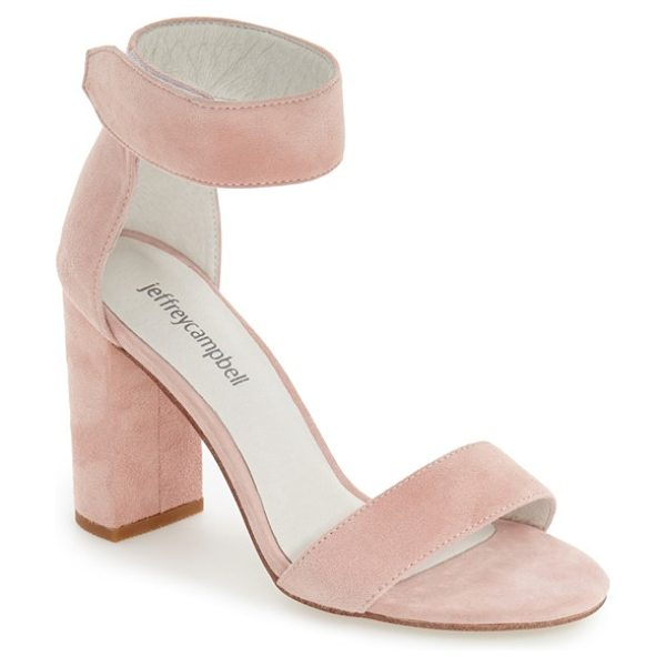 Jeffrey Campbell lindsay ankle strap sandal in light pink suede - A chunky ankle strap extends the modern elegance of a...