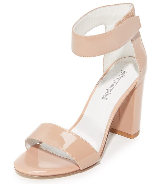 Jeffrey Campbell lindsay sandals in taupe patent - Refined Jeffrey Campbell sandals styled in glossy patent...