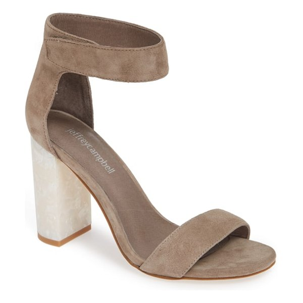 Jeffrey Campbell lindsay statement heel sandal in brown - A contrast heel with a curvy half-moon footprint brings...