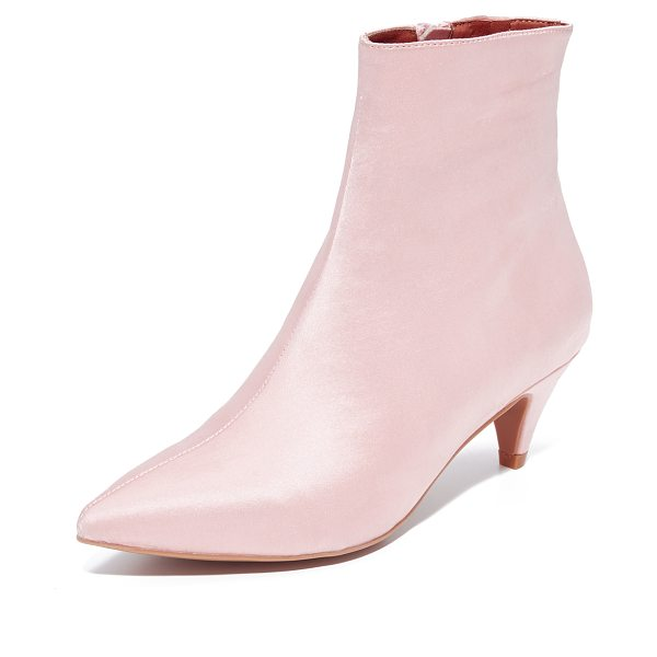 Jeffrey Campbell muse satin kitten heel booties in blush - Pastel satin adds retro glamour to these pointed-toe...